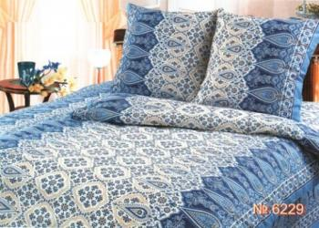 """Комплект постельного белья 1,5-спальный, с вырезом """"ромб"""",  бязь Шуйская ГОСТ (Огурцы, синий)"""
