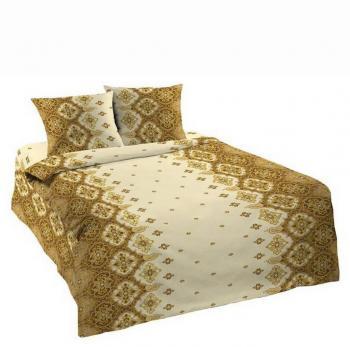 """Комплект постельного белья 1,5-спальный, с вырезом """"ромб"""",  бязь Шуйская ГОСТ (Орнамент, коричневый)"""