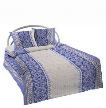 """Комплект постельного белья 1,5-спальный, с вырезом """"ромб"""",  бязь Шуйская ГОСТ (Вышивка, голубой)"""