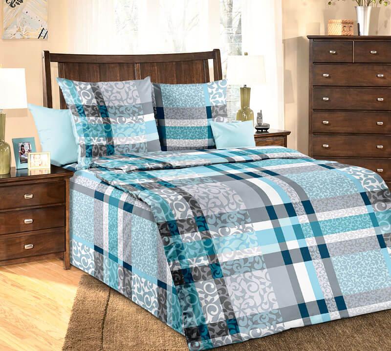 """Комплект постельного белья 1,5-спальный, бязь """"Люкс"""" (Бруно, бирюзовый)"""