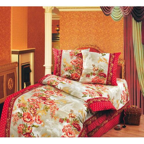 """Комплект постельного белья 1,5-спальный, бязь """"Люкс"""" (Гобелен, красный)"""