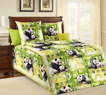 """Комплект постельного белья 1,5-спальный, бязь """"Люкс"""" (Панды)"""
