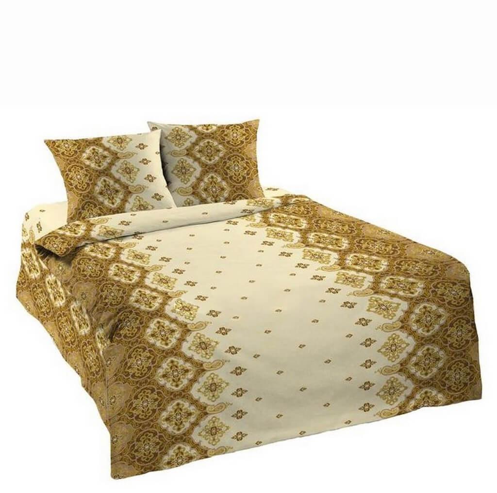Комплект постельного белья 1,5-спальный, бязь Шуйская ГОСТ (Орнамент, коричневый)