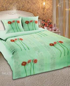 Комплект постельного белья 1,5-спальный, бязь Шуйская ГОСТ (Герберы, зеленый)