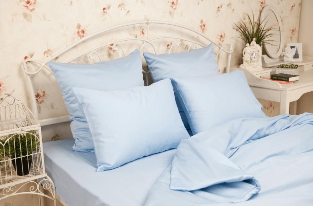 Комплект постельного белья 1,5-спальный, однотонная бязь ГОСТ (Голубой цвет)