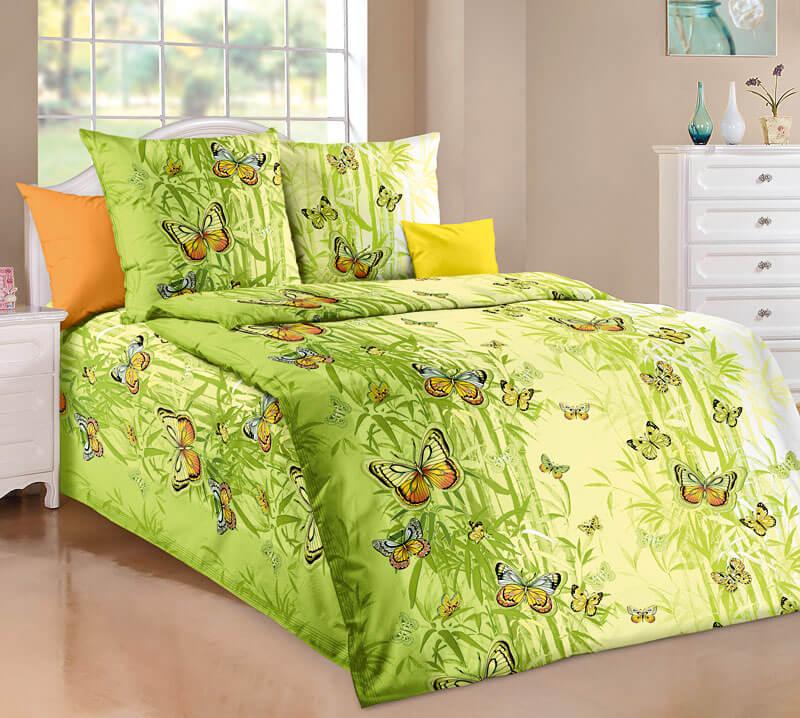 """Комплект постельного белья 1,5-спальный, бязь """"Люкс"""" (Гармония, зеленый)"""