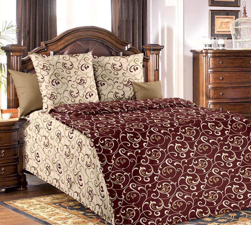 """Комплект постельного белья 1,5-спальный, бязь """"Люкс"""" (Вензель, коричневый)"""