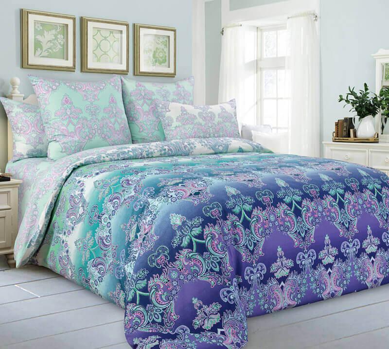 Комплект постельного белья 1,5-спальный, поплин (Перелив, бирюзовый)