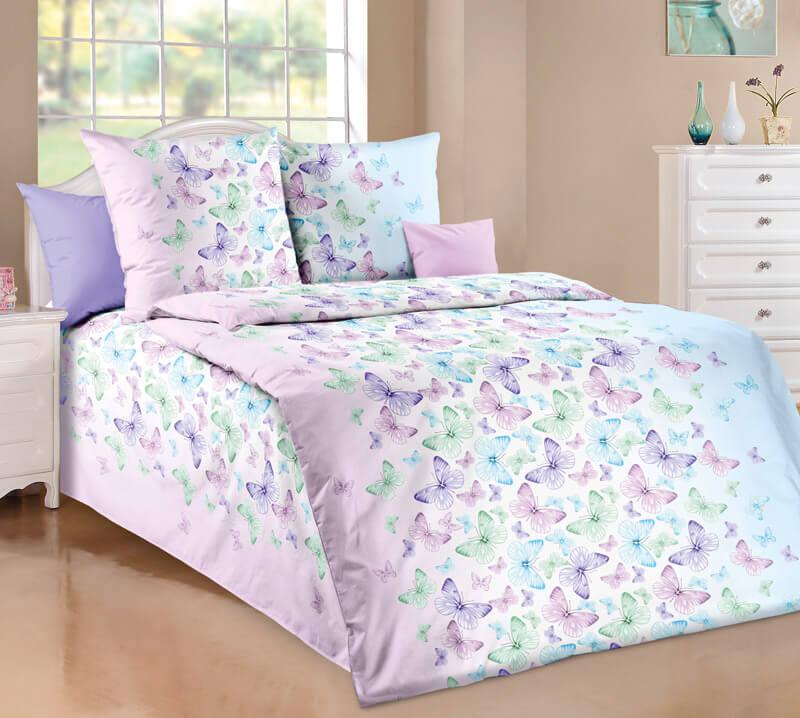 """Комплект постельного белья 1,5-спальный, бязь """"Люкс"""" (Мон Амур, сиреневый)"""