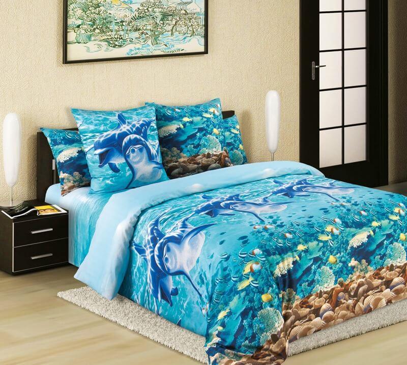 """Комплект постельного белья 2-спальный, бязь """"Люкс"""" (Дельфины 3 D)"""