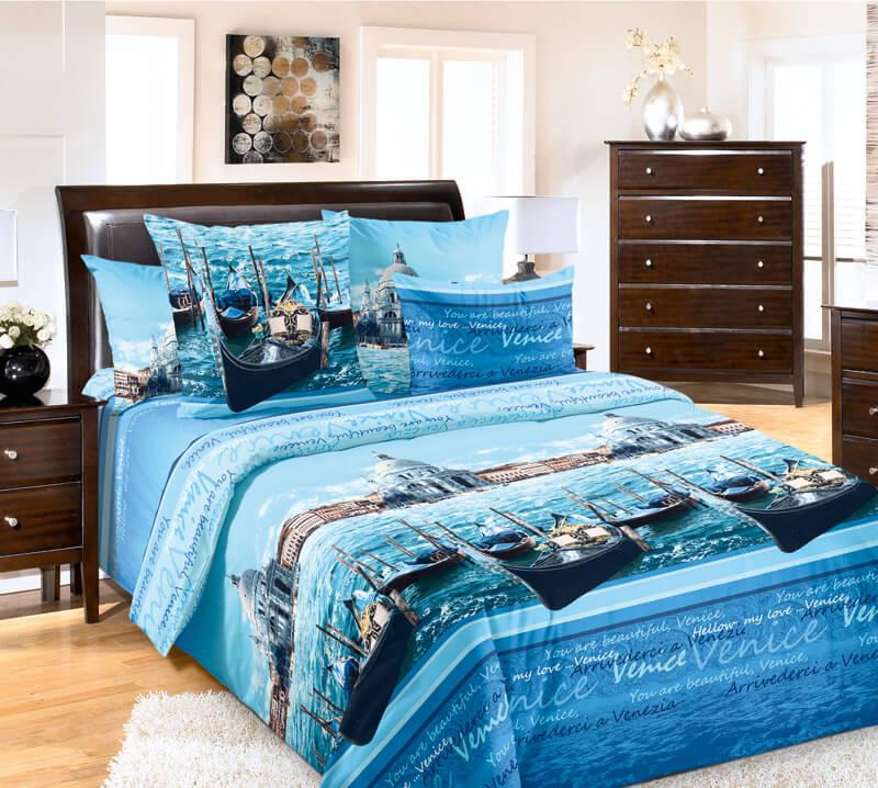 """Комплект постельного белья 2-спальный, бязь """"Люкс"""" (Венеция, голубой)"""