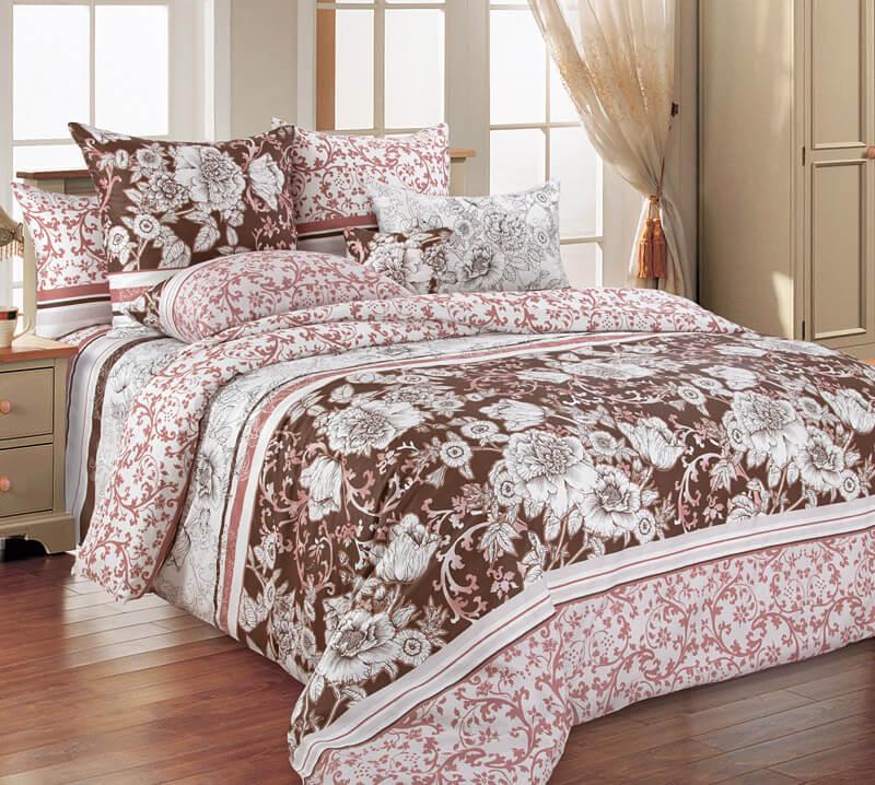 Комплект постельного белья 2-спальный, поплин (Графика, бежевый)