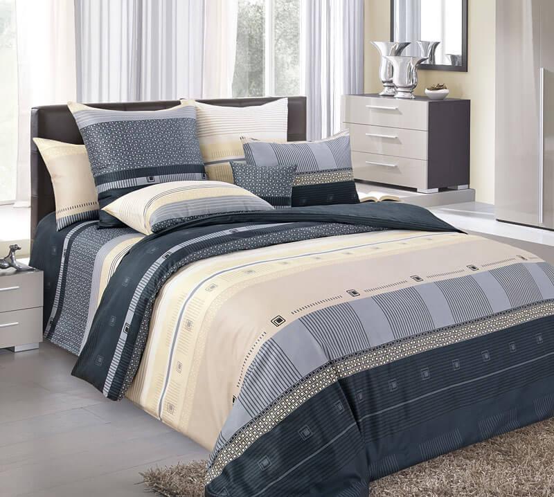Комплект постельного белья 2-спальный с Евро простыней, поплин (Мишель, черный)