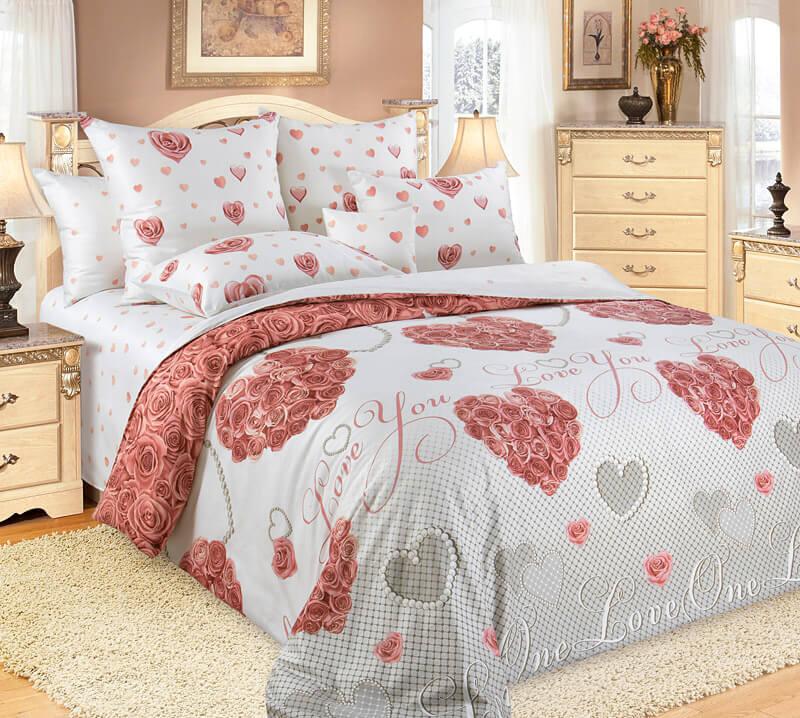 Комплект постельного белья 2-спальный, сатин, с Европростыней (Вечная любовь)