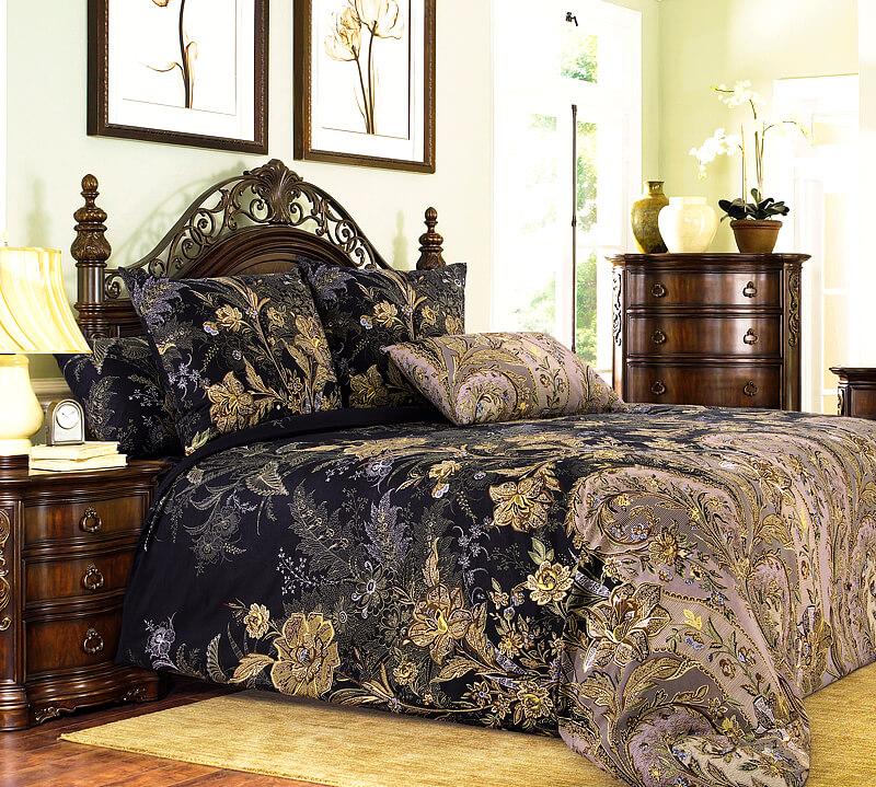 Комплект постельного белья Евростандарт, поплин (Музей, коричневый)