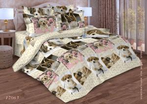 Комплект постельного белья Евростандарт, бязь  ГОСТ (Галерея собак)