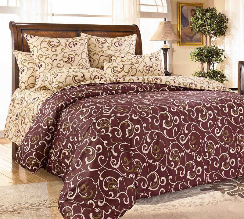 """Комплект постельного белья Евростандарт, бязь """"Люкс"""" (Вензель, коричневый)"""