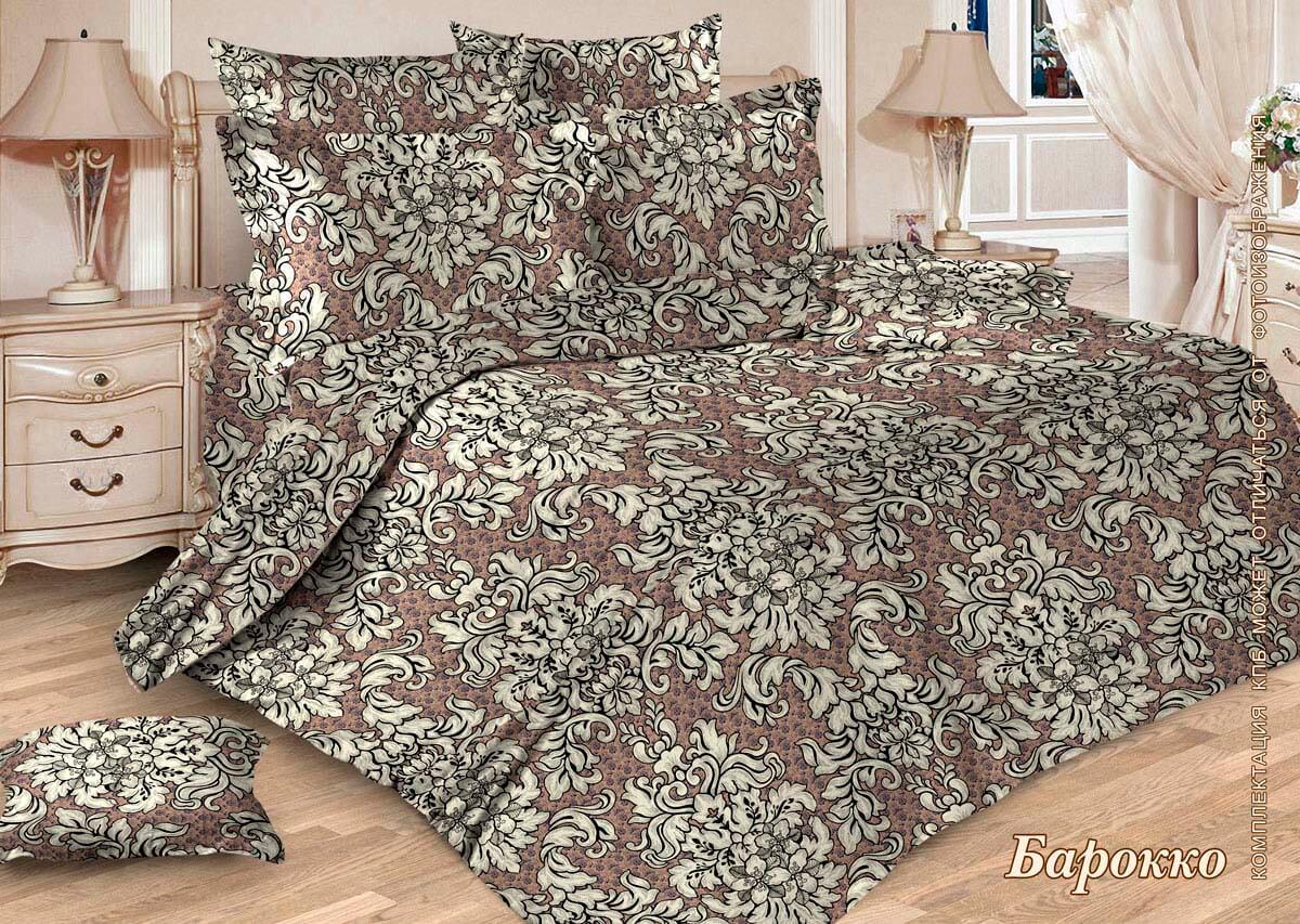 Комплект постельного белья Евростандарт, бязь  ГОСТ (Барокко, бежевый)