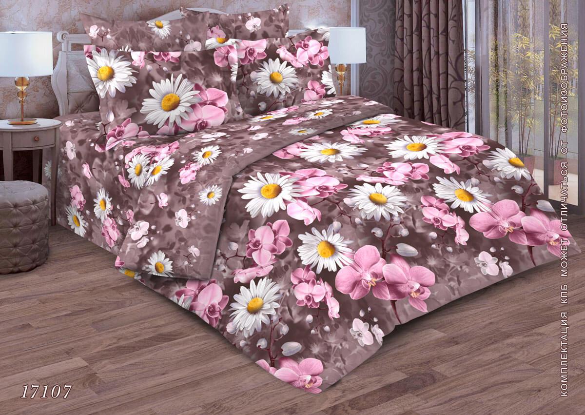 Комплект постельного белья Евростандарт, бязь  ГОСТ (Орхидеи на лиловом)