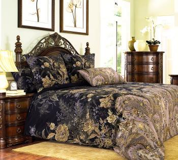 Комплект постельного белья Евромакси, поплин (Музей, коричневый)