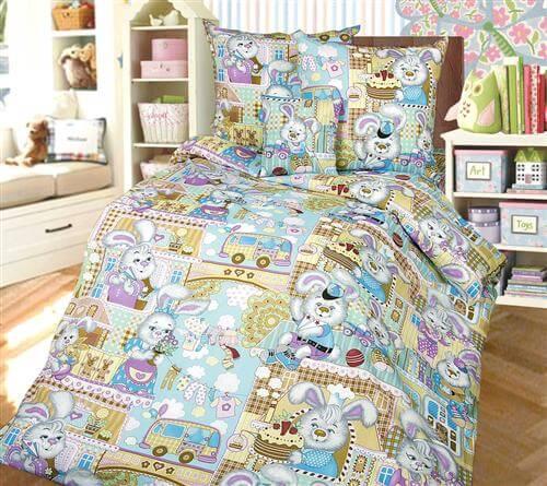 """Комплект постельного белья 1,5-спальный, бязь """"Люкс"""", детская расцветка (Зайкин город)"""