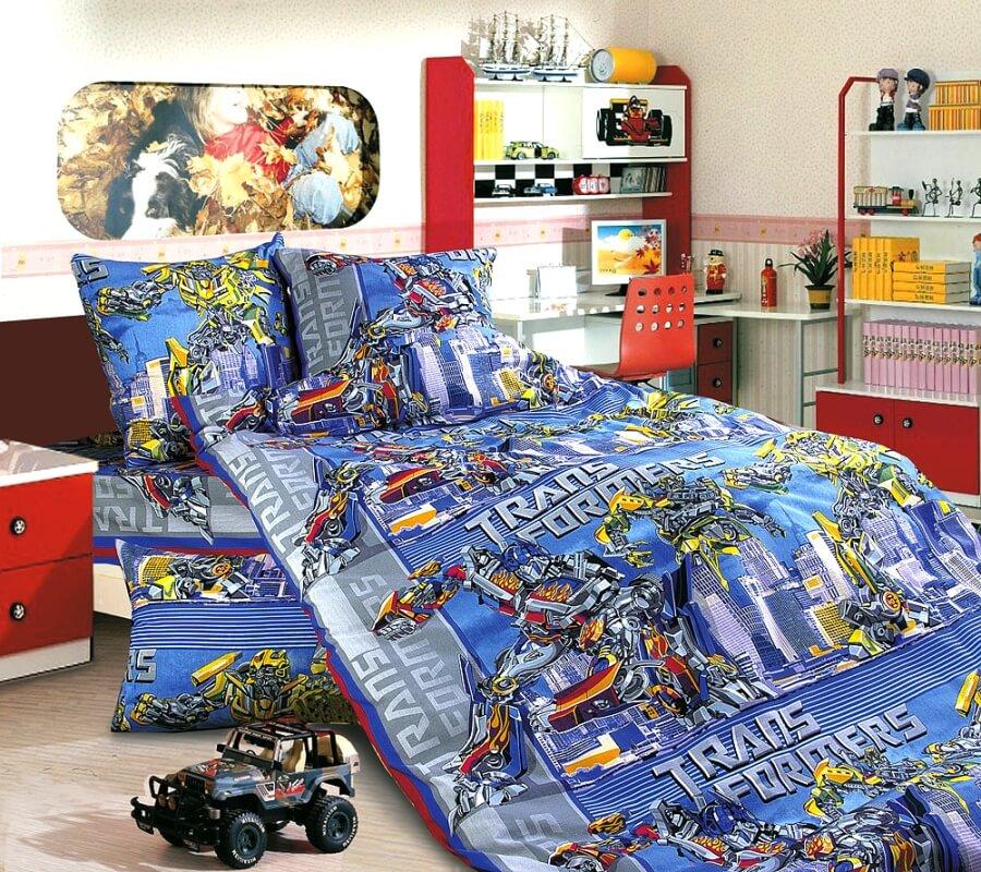 """Комплект постельного белья 1,5-спальный, бязь """"Люкс"""", детская расцветка (Трансформеры)"""
