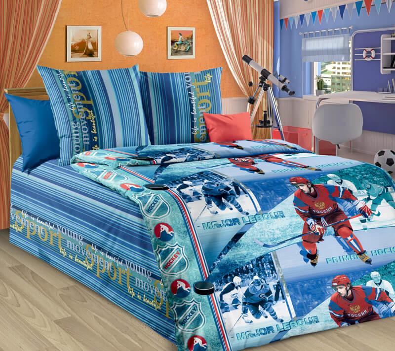 """Комплект постельного белья 1,5-спальный, бязь """"Люкс"""", детская расцветка (Хоккей new)"""