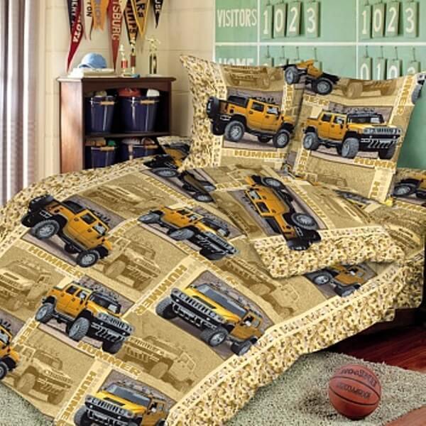 """Комплект постельного белья 1,5-спальный, бязь """"Люкс"""", детская расцветка (Сафари, бежевый)"""