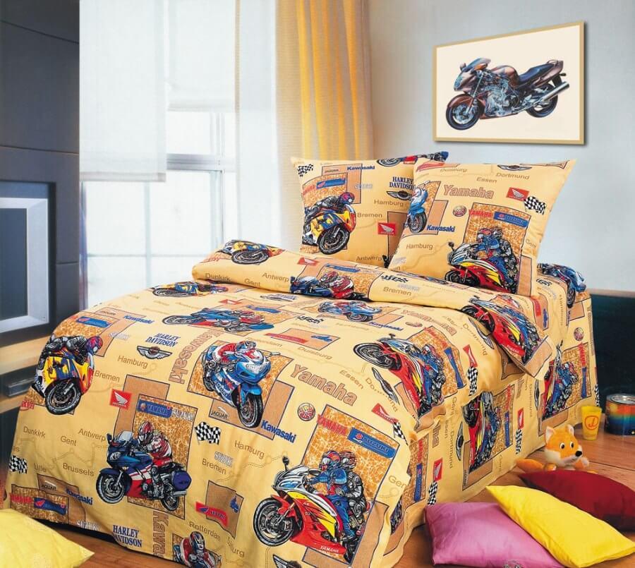 """Комплект постельного белья 1,5-спальный, бязь """"Люкс"""", детская расцветка (Мотоспорт)"""
