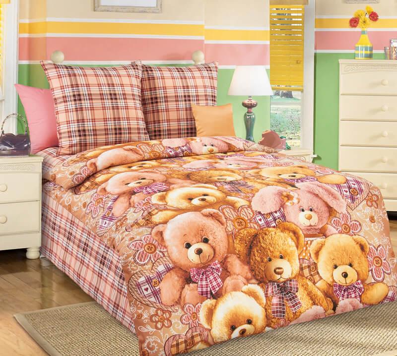 """Комплект постельного белья 1,5-спальный, бязь """"Люкс"""", детская расцветка (Мишкины друзья)"""