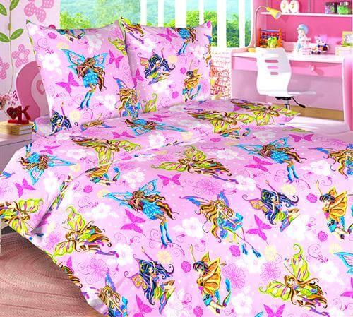 """Комплект постельного белья 1,5-спальный, бязь """"Люкс"""", детская расцветка (Волшебницы)"""