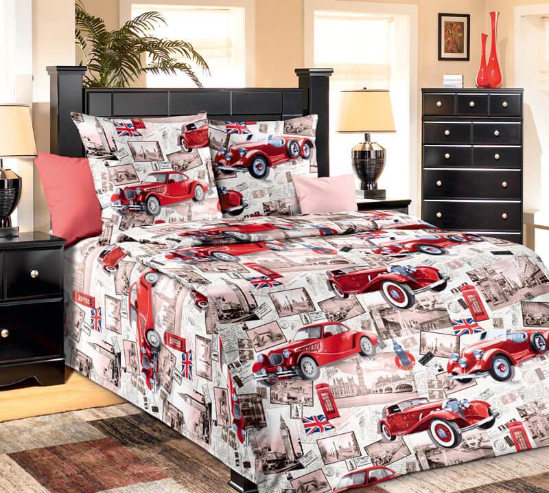 """Комплект постельного белья 1,5-спальный, бязь """"Люкс"""", детская расцветка (Ретро, красный)"""