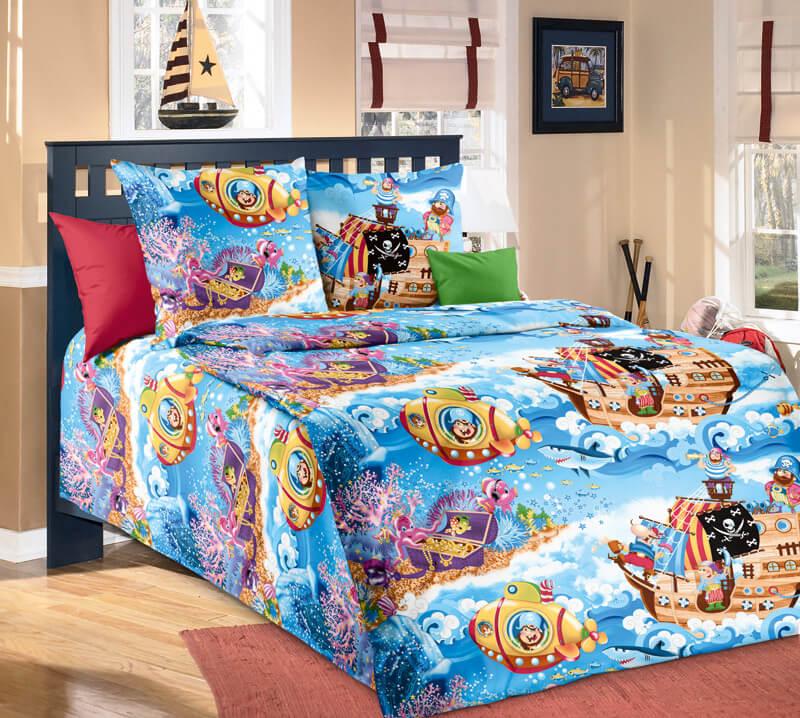 """Комплект постельного белья 1,5-спальный, бязь """"Люкс"""", детская расцветка (Пираты new)"""