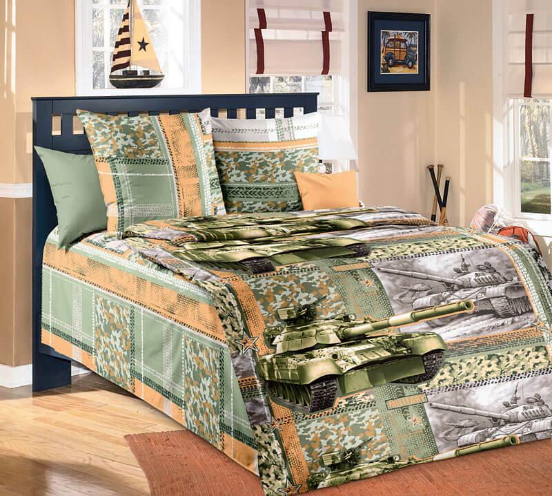 """Комплект постельного белья 1,5-спальный, бязь """"Люкс"""", детская расцветка (Танк 3 D)"""
