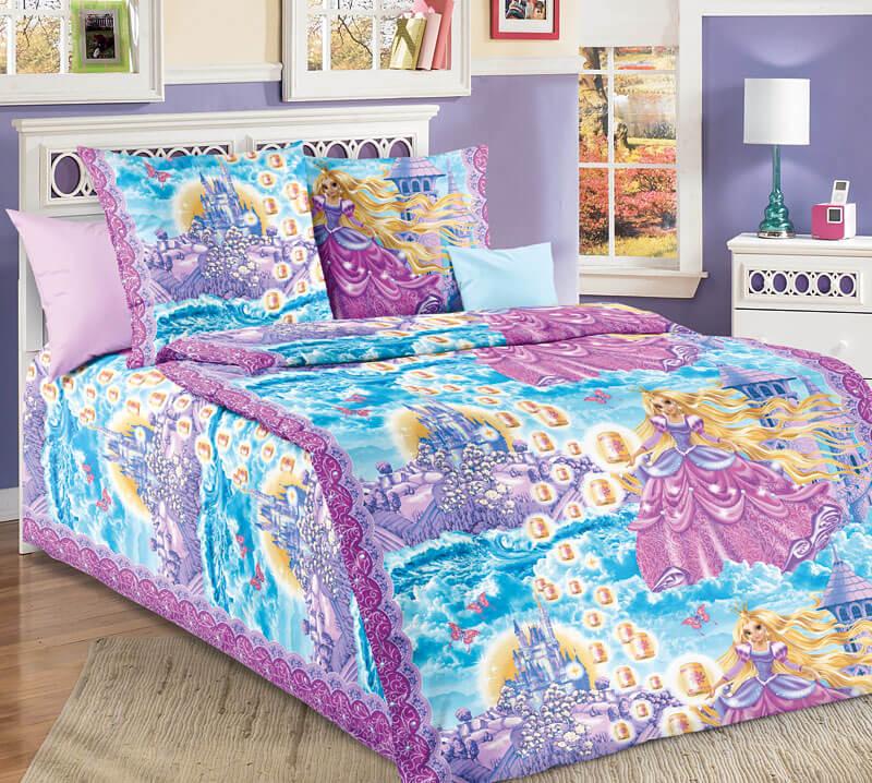 """Комплект постельного белья 1,5-спальный, бязь """"Люкс"""", детская расцветка (Принцесса, сиреневый)"""