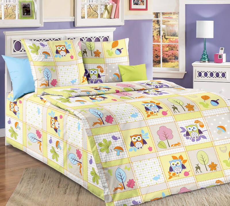 """Комплект постельного белья 1,5-спальный, бязь """"Люкс"""", детская расцветка (Дорис, зеленый)"""