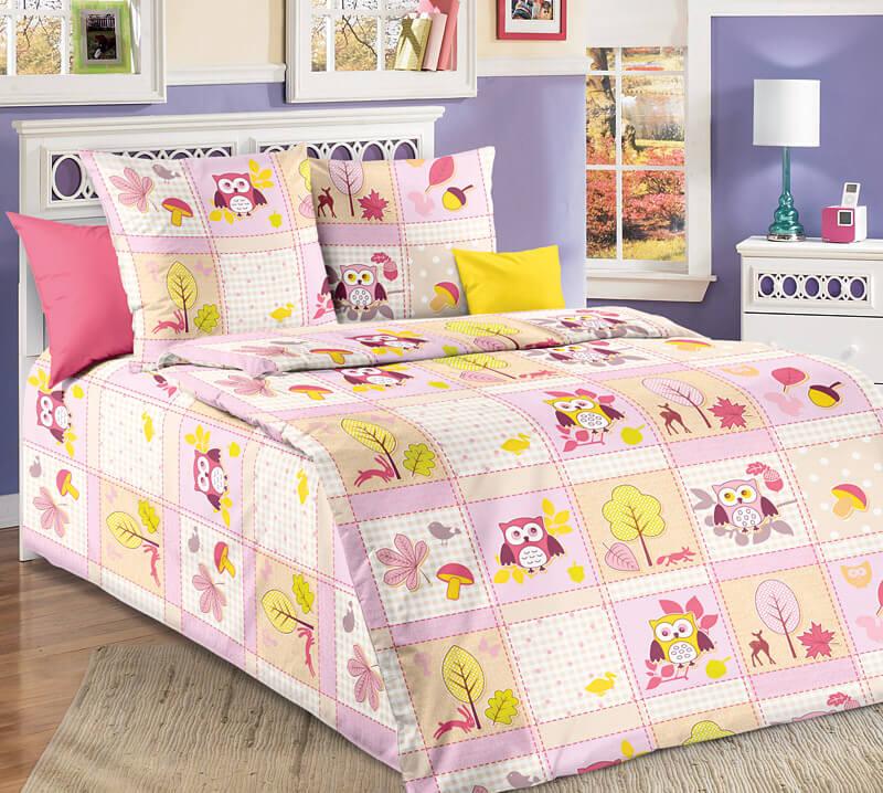 """Комплект постельного белья 1,5-спальный, бязь """"Люкс"""", детская расцветка (Дорис, розовый)"""