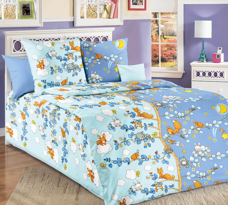 """Комплект постельного белья 1,5-спальный, бязь """"Люкс"""", детская расцветка (День и ночь)"""