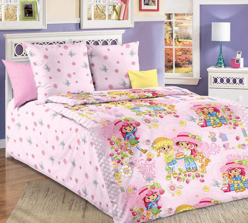 """Комплект постельного белья 1,5-спальный, бязь """"Люкс"""", детская расцветка (Девчата)"""
