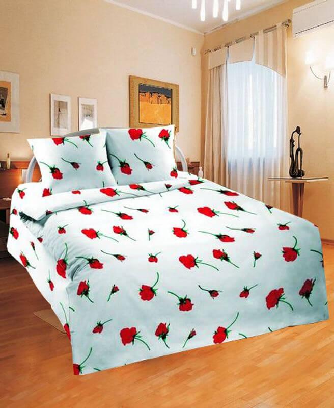 Простыня 1,5-спальная, Шуйская бязь ГОСТ (Роза, красный)