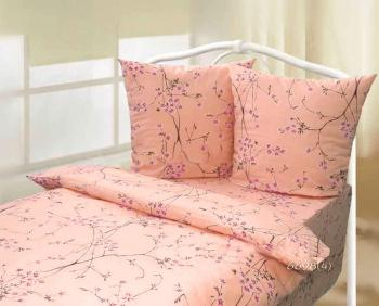 Простыня 1,5-спальная, Шуйская бязь ГОСТ (Сакура, персиковый)