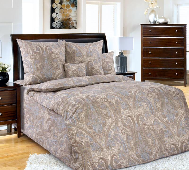 Простыня 1,5-спальная, поплин (Кашмир, коричневый)