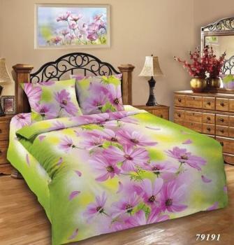 Простыня 1,5-спальная, Шуйская бязь ГОСТ (Космея, розовый)