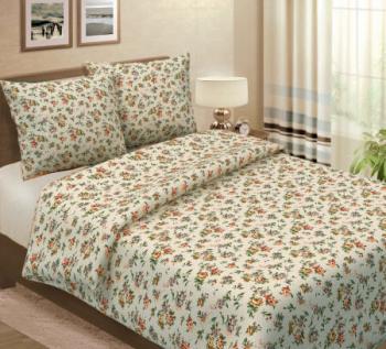Простыня 1,5-спальная, лён 100 % набивной (Вальс цветов)