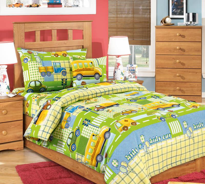 """Простыня 1,5-спальная, бязь """"Люкс"""", детские расцветки (Машинки, зеленый)"""