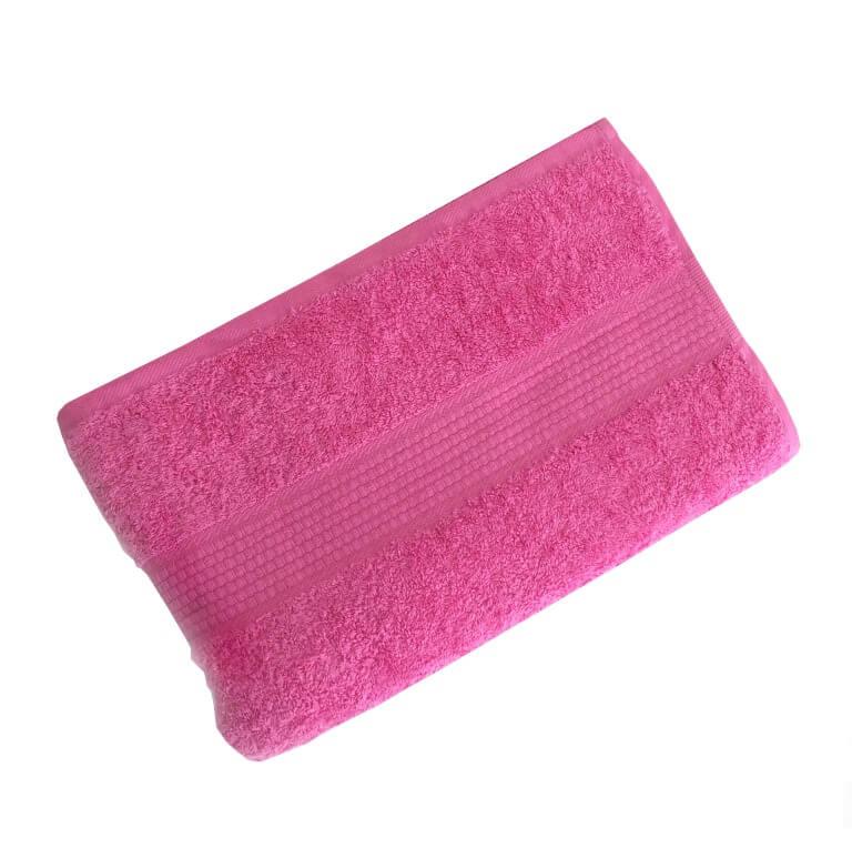 Махровое гладкокрашенное полотенце 50*90 см 460 г/м2 (Ярко-розовый)