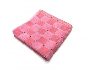 Махровое полотенце 45*90 см, Китай (Клетка, розовый)