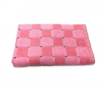 Махровое полотенце 65*135 см, Китай (Клетка, розовый)