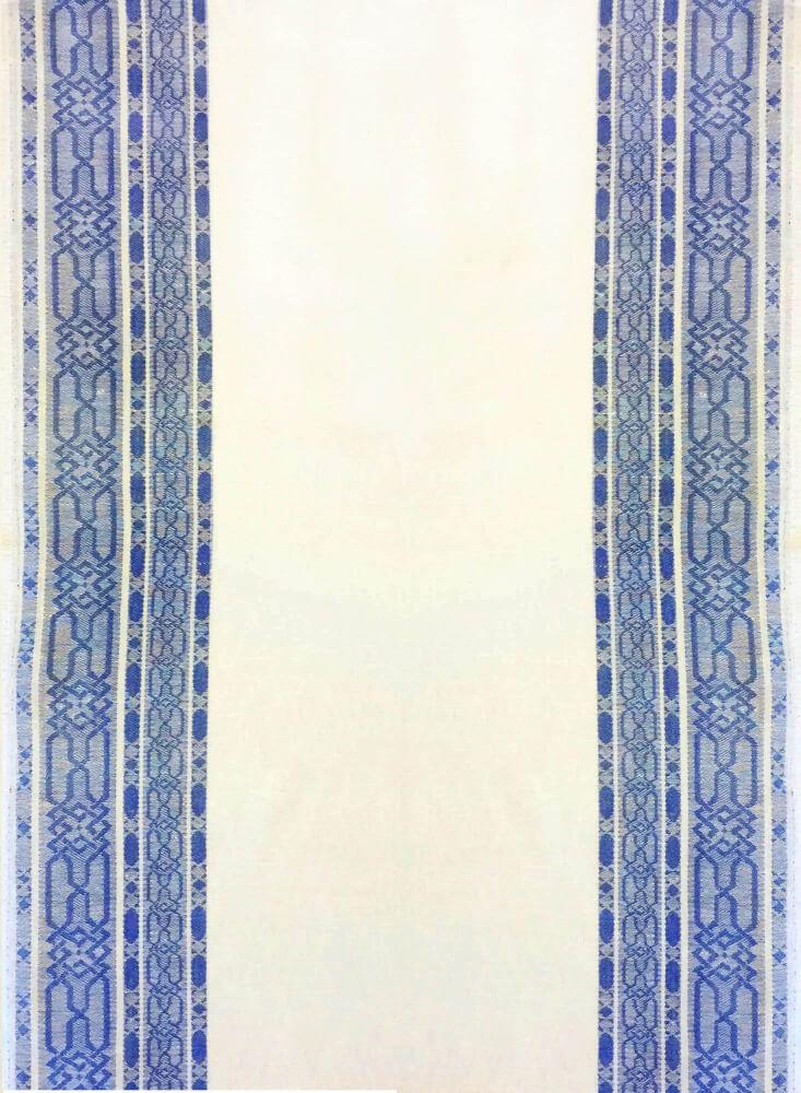 Полотенце кухонное 50*80см жаккардовое, полулен, белый фон (Орнамент, синий)