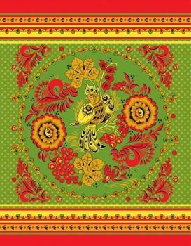 Полотенце 48*60 см вафельное (Золотая Хохлома, зеленый)